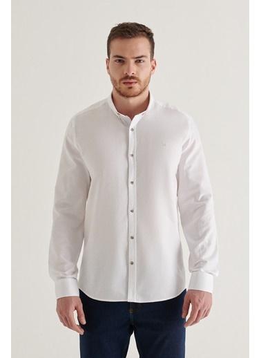 Avva Erkek Düz Düğmeli Yaka Regular Fit Gömlek A11Y2026 Beyaz